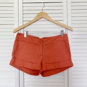 Forever 21 Burnt Orange Mid Rise Cuffed Shorts S